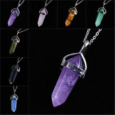 Silver/Gold Gemstone Hexagon Prism Beads Healing Point Chakra Pendant Necklace