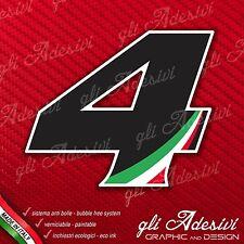 Adesivo Stickers NUMERO 4 moto auto cross gara Nero & Tricolore 5 cm
