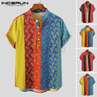 NEW Mens Floral Printed Shirts Short Sleeve Striped 100% Cotton  Blouse Tops Tee