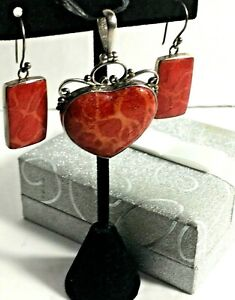 .925 Silver Rectangle Earrings And Heart Shaped Charm (Orange and Red)