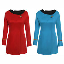Star Trek The Female Duty Red Uniform Dress Cosplay Costume Gown Outfit Red/Blue