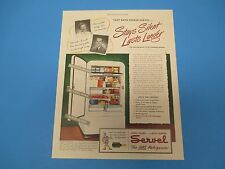 1948 Servel Gas Refrigerator Stays Silent Lasts Longer Color Print Ad PA010