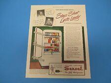 1948 Servel Gas Refrigerator Stays Silent Lasts Longer Color Print Ad PA010