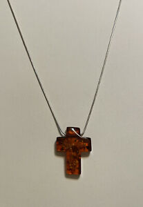 """Sterling Silver Amber Cross Necklace Magnetic Clasp 17.5"""""""