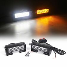 4Pcs Led 2In1 Flash Safety Emergency Warning Strobe Dash Grill Light Amber White