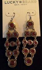 Lucky Brand Carnelian Semi-Precious Stone Chandelier Gold-Tone Earrings MSRP $39