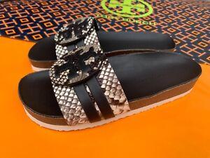 Tory Burch NIB Leigh Anatomic Slide Sandals Stamped Snake Print Leather Black