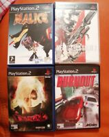 4 SONY PS2 GAMES BURNOUT MALICE DEVIL MAY CRY 2 METAL GEAR SOLID 2 PLAYSTATION 2
