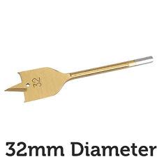 PRO 32mm x 150mm Titanio Acciaio Rivestito Piatto/Spade NUCLEO TRAPANO FORO CUTTER Hex