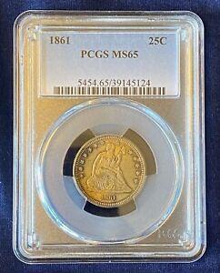 1861-P 25c Seated Liberty Quarter PCGS MS-65, Civil War Date, High Grade Coin