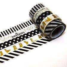 5 Rollen je 10m Washi Masking Tape Hochzeit Klebeband Reispapier 0,22 Eur/m 9850