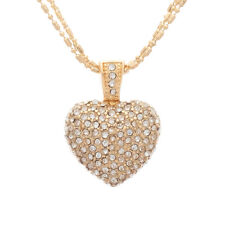 Cubic Zirconia Pave Heart Pendant Layered Chain Necklace In Gold Tone