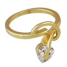 Authentic Womens Girls Round Love Ring Heart crystal Yellow Gold Filled Size 5