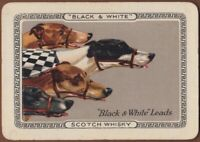 Playing Cards Single Card Old Wide BLACK WHITE WHISKY Advertising Art Dog Racing