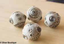 4 White Indonesian Beads, Clear Crystals, Bali Accents Handmade 20mm