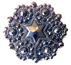6 Point STAR B ful Sparkly Lacy Design Black Glass 1 1 16 Antique Button