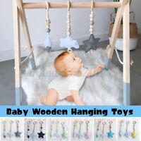 3Pcs/Set Baby Crib Pram Wooden Felt Hanging Toys Baby Stand Education Toy