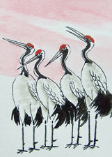 Oriental Art ACEO Original chinese Painting lovely cranes