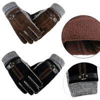 Men's Winter Warm Gloves Real Leather Thicken Waterproof Ski Thermal Gloves ♡