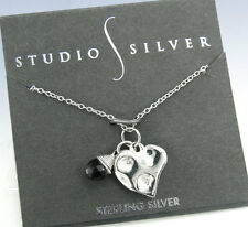 STUDIO SILVER Sterling SILVER Hammered HEART & Onyx Stone Charm PENDANT