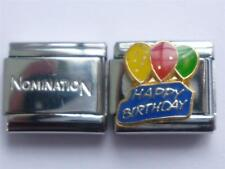 GENUINE SHINY CLASSIC ITALIAN CHARM + UNBRANDED HAPPY BIRTHDAY CHARM L4
