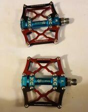 UK RockBros Mountain Bike Platform Pedals Three Sealed Bearing Red One Pair