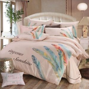 Oriental Feather Embroidery Bedding Sets 4pcDuvet Cover Bed Sheet Pillowcase Set