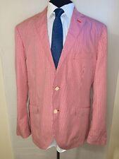 Summer Ready Tallia Orange Checkered Unstructured Cotton Blazer Sz 46