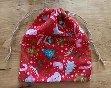 Christmas Pattern Handmade Drawstring Gift Bag Snowman Reindeer Gingerbread Man