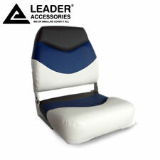 New White/Blue/Charcoal Folding Boat Seat made of Marine-grade vinyl  upholstery