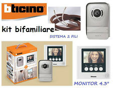 """VIDEOCITOFONO BTICINO 2 FILI BIFAMILIARE 316913 KIT VIDEO CITOFONO COLORI 4,3"""""""