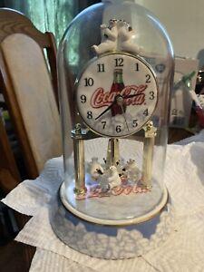 "Coca Cola Anniversary Clock 7"" Porcelain Base Polar Bears"