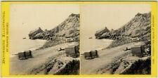 Stéréo Bedford circa 1870. Torquay - The beach at meadfoot. Devon. England.