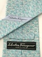 Authentic SALVATORE FERRAGAMO The Whales Print On Light Blue 100Silk Necktie Tie