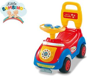 Red Ride On Children's Sit' N Ride Push Along Car Vehicle Toy With Horn Sounds