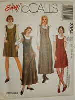 Jumper Dress Sewing Pattern 12 14 16 McCalls 2354 UC FF Long Short Denim Tweed