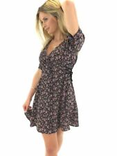 Ex Topshop Floral Lace Up Tea Dress in Black Pink Size 6 - 14 (X1.10)