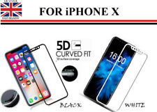 Curved 5D Tempered Glass Screen Protector Cover For Apple iPhone X: Black/ White
