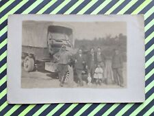 Carte Photo CAMION OBUS GUN AUTOMOBILE MILITAIRE GUERRE Car Military War