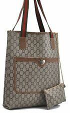 Auth GUCCI GG Plus Web Sherry Line Shoulder Tote Bag PVC Leather Brown A5265