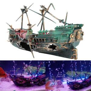 Aquarium Ornament Wreck Sunk Ship Boat Air Split Shipwreck Tank Cave Decor