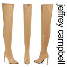 JEFFREY CAMPBELL Sherise OTK Thigh High BOOTS 8 Pointed Stiletto Heels Beige NEW