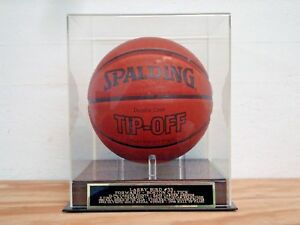 Larry Bird Basketball Display Case With A Boston Celtics Engraved Nameplate