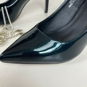 Asos Green Shiny Stiletto Slip On High Heel Shoes Pointed Sz 4 Club Party Office