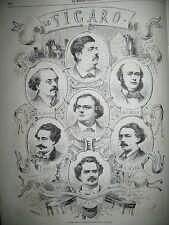 JOURNAL LE FIGARO REDACTEURS BALS COSTUMéS DU COMTE WALEWSKI GRAVURES 1863
