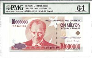 Turkey, 10,000,000 Lira, 1997, P-214, Uncirculated PMG 64
