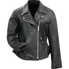2615483141264 Womens Black Solid Genuine Buffalo Leather MOTORCYCLE JACKET Coat Biker  Lined
