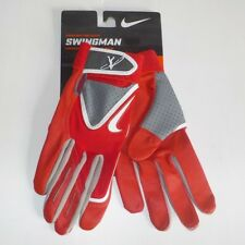 Nike SWINGMAN Baseball Batting Gloves RED GRAY GB9046 609 Youth Size LARGE