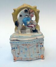 Antique Trinket Vienna Treasure box Samoyed Spitz Husky Eskimo dog & boy Marked