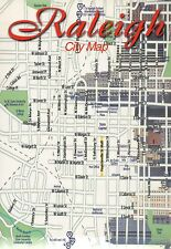Raleigh City Map, North Carolina State Capitol, Fayetteville Street etc Postcard